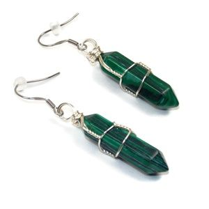 Stone Point Dangle Earrings Stainless Steel Nature
